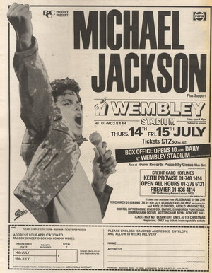 Concert poster from Michael Jackson - Wembley Stadium, London, United Kingdom - 14. Jul 1988