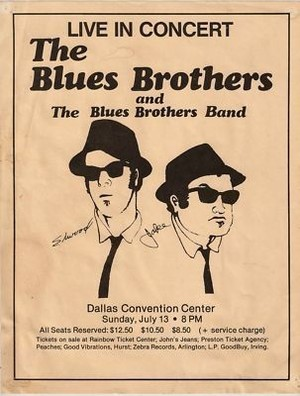 Concert poster from Blues Brothers - Dallas Convention Center, Dallas, TX, USA - 13. Jul 1980