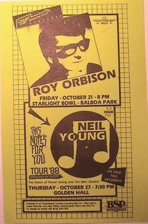 Concert poster from Roy Orbison - Starlight Bowl, San Diego, CA, USA - 21. Oct 1988