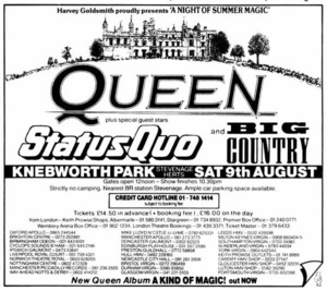 Concert poster from Queen - Knebworth Park, Knebworth, Hertfordshire, United Kingdom - 9. Aug 1986