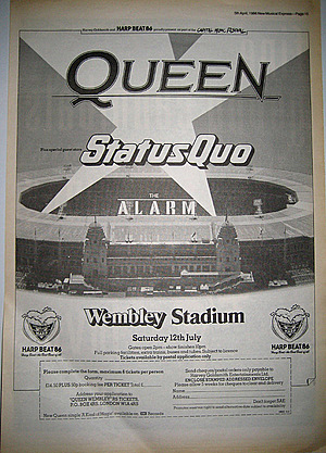 Concert poster from Queen - Wembley Stadium, London, United Kingdom - 12. Jul 1986