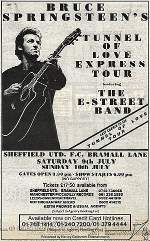 Concert poster from Bruce Springsteen - Bramall Lane, Sheffield, United Kingdom - 10. Jul 1988