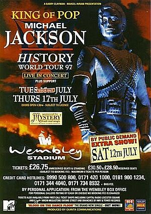 Concert poster from Michael Jackson - Wembley Stadium, London, United Kingdom - 15. Jul 1997