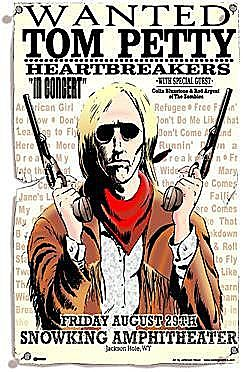 Concert poster from Tom Petty and The Heartbreakers - Snow King Sports and Events Center, Jackson, WI, USA - 29. Aug 2003