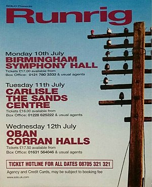 Concert poster from Runrig - The Sands Centre, Carlisle, United Kingdom - 11. Jul 2000