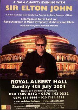 Concert poster from Elton John - Royal Albert Hall, London, United Kingdom - 4. Jul 2004