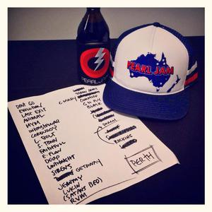 Setlist photo from Pearl Jam - Claremont Showgrounds, Claremont, Australia - 2. Feb 2014