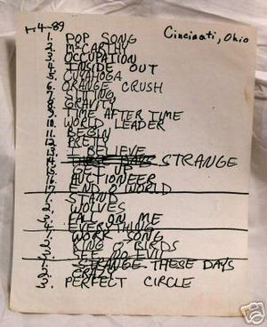 Setlist photo from R.E.M. - Firstar Center, Cincinnati, OH, USA - 4. Apr 1989