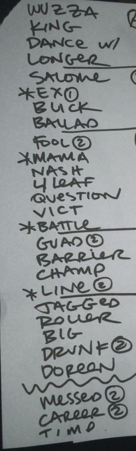 Setlist photo from Old 97's - Cat's Cradle, Carrboro, NC, USA - 8. Oct 2014